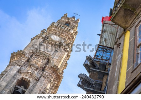 Tower of the Clerigos church in Porto. - stock photo