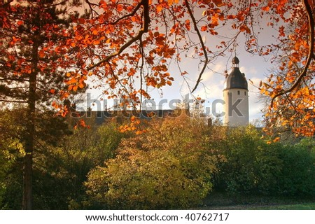 Tower of the lock of Altenburg (Thuringia) in the horizontal format - stock photo