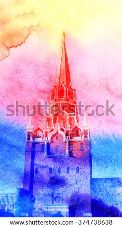 Tower of the Moscow Kremlin in Russia - stock photo