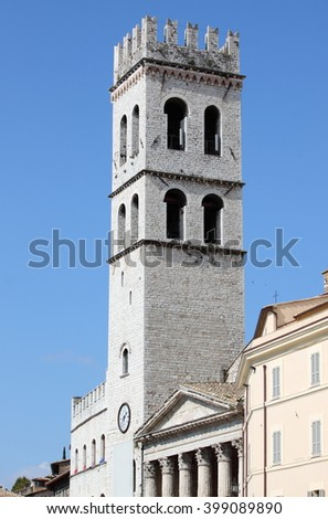 Tower of the People in Assisi, Italy - stock photo