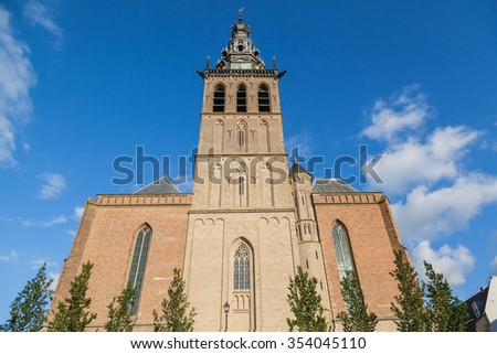 Tower of the Stevens church in Nijmegen, Netherlands - stock photo