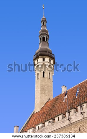 Tower of the Town Hall in Tallinn, Estonia - stock photo