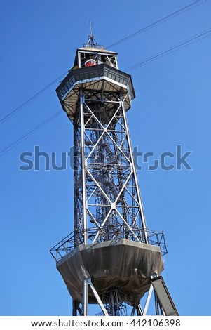 Tower of two cable car funicular railway in Barcelona, Spain