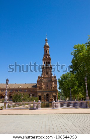 tower on Plaza de Espana, in Seville, Spain