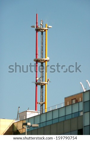 Tower on the fire department building - stock photo
