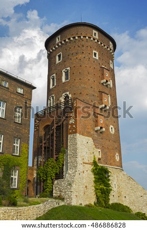 Tower on the territory of Wawel castle in Krakow, Poland