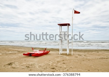 Tower rescue on the beach of Rimini,Italy, in winter - stock photo