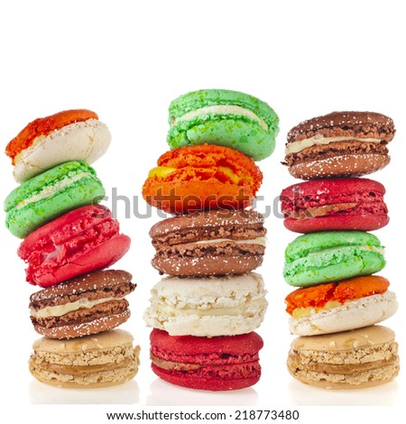 Tower stack of Colorful macaroons isolation on a white background - stock photo