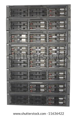 tower stack of server computers in rack mount units isolated on white