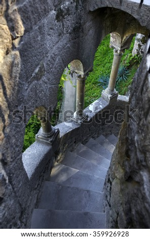 Tower stairs in Quinta da Regaleira, Sintra, Portugal