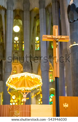 Tower Tops Sagrada Familia Cathedral Cross Stock Photo 543946030