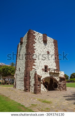 Tower Torre Del Conde (The Count's Tower) In San Sebastian at La Gomera, Canary islands, Spain. The oldest military fort in the Canaries built in 1450 and Christopher Columbus' last port of call. - stock photo