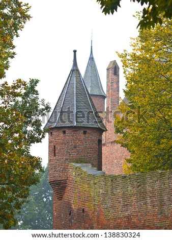 Tower Turret of a Medieval Castle in Europe with White Background