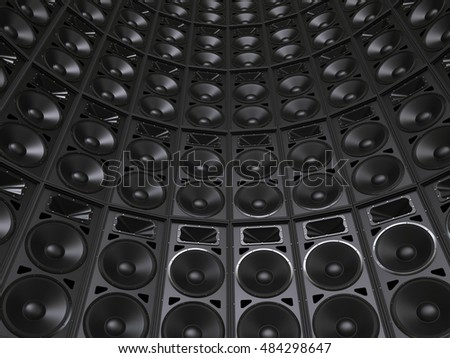 Tower wall of concert speakers - 3D Illustration