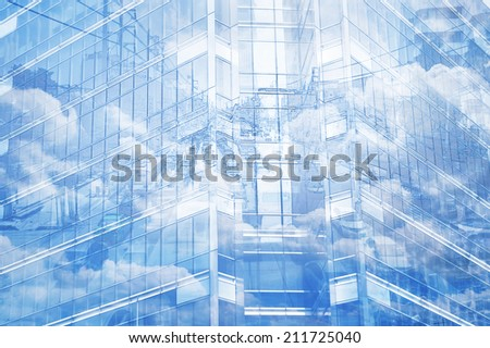 Tower window for business background, illustration style