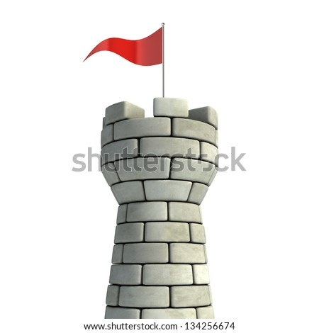 tower with flag 3d illustration - stock photo