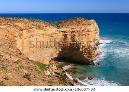 Towering cliffs at the Twelve Apostles Lookout, Port Campbell National Park, Great Ocean Road Victoria Australia
