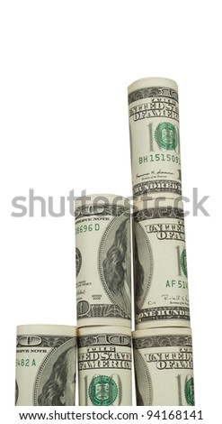 Towering pyramid of coiled dollars isolated on a white background
