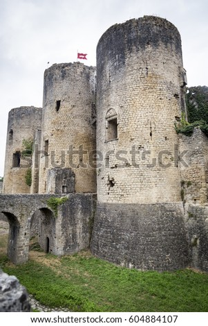 Towers and walls of old French medieval city, Loire valley