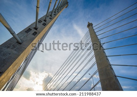 Towers of Bridge connecting George Town on Penang island and Seberang Prai on mainland of Malaysia through straits of Malacca