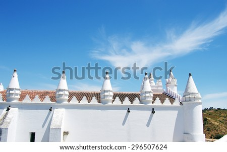 towers of church in Mertola (Alentejo- Portugal)
