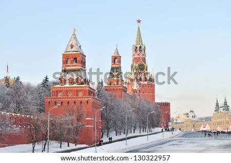 Towers of Moscow Kremlin in winter