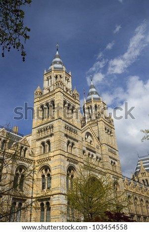 Towers of Natural History Museum, London, England - stock photo