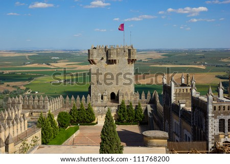 towers of  of Almodovar del Rio castle, Cordoba, Spain - stock photo