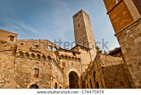 Towers of San Gimignano.Famous town in Tuscany with many medieval high towers, Unesco World Heritage site. - stock photo
