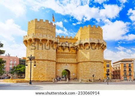 Towers of Serranos in  Valencia . Spain. - stock photo