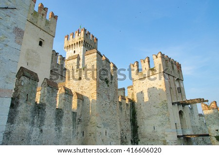 Towers of the beautiful medieval Italian city Sermione - stock photo