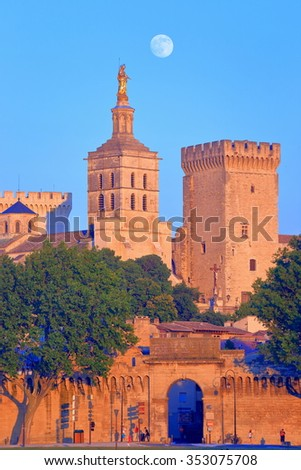 Towers of the Cathedral and Papal Palace (Palais des Papes) under the full moon, Avignon, Provence, France - stock photo