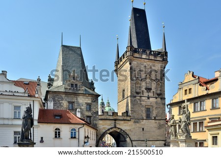 Towers of the Charles bridge in Prague (Czech Republic)