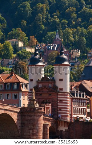 Towers of the old bridge - stock photo