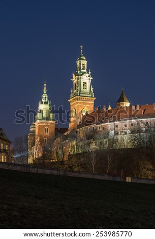 Towers of the St Stanislaw and St Vaclav on the Wawel Hill with the fortifications of the Wawel castle in the night