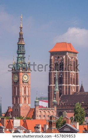 Towers of the town hall and St Mary's church in Gdansk, Poland