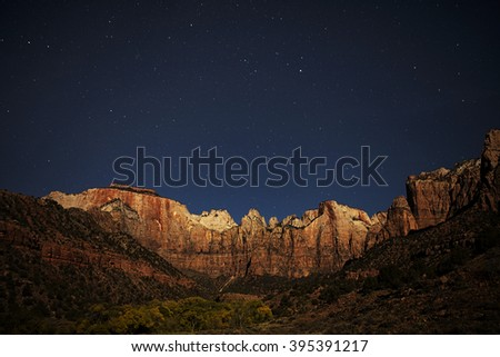 Towers of the Virgin under the stars in Utah's Zion National Park