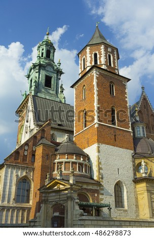 Towers of the Wawel castle in Krakow, Poland