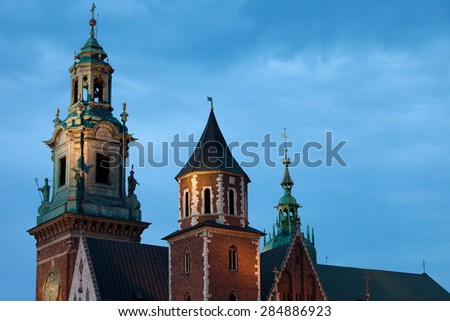 Towers of the Wawel Cathedral (Polish: Katedra Wawelska, na Wawelu) by night in Cracow, Poland.