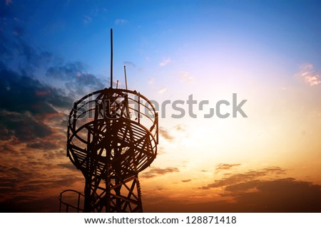 Towers, wired to wireless comm - stock photo