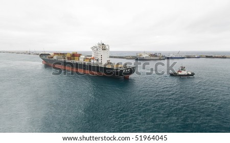 towing operation large container ship