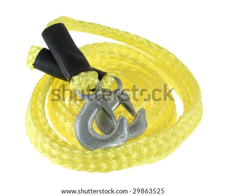 Towing rope with hooks isolated on white background - stock photo