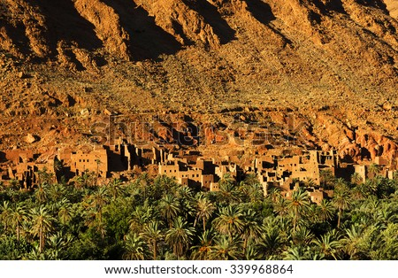 Town and oasis of Tinerhir, Morocco, Africa - stock photo