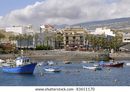 Town and port of San juan at Tenerife in the Spanish Canary Islands - stock photo