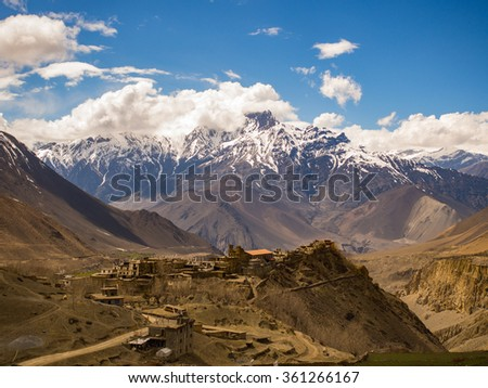 Town and the great mountain in Muktinath, Annapurna Conservation Area,Nepal