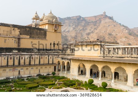 Town around Amer Fort (Amber Fort and Amber Palace), a town near Jaipur, Rajasthan state, India. UNESCO World Heritage Site as part of the group Hill Forts of Rajasthan. - stock photo