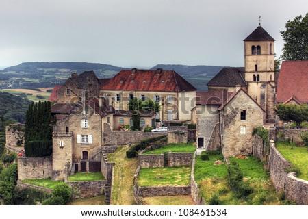 Town at  Baume les Messieurs, Jura - France - stock photo
