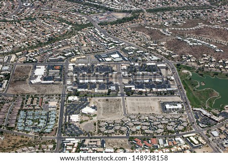 Town center of Fountain Hills, Arizona from above