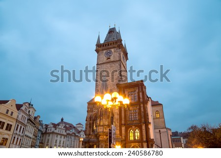 Town City Hall in Prague (Night view), view from Old Town Square, Czech Republic - stock photo