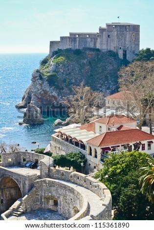 Town Dubrovnik and island in Croatia - stock photo